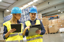 Workers In Warehouse Controlli...
