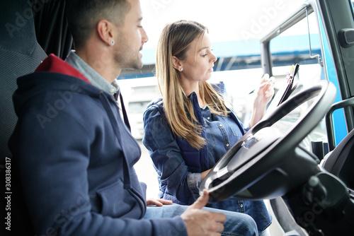 Cuadros en Lienzo Logistics manager controlling truck driver schedule