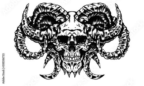 Fényképezés the skull of a demon with many horns