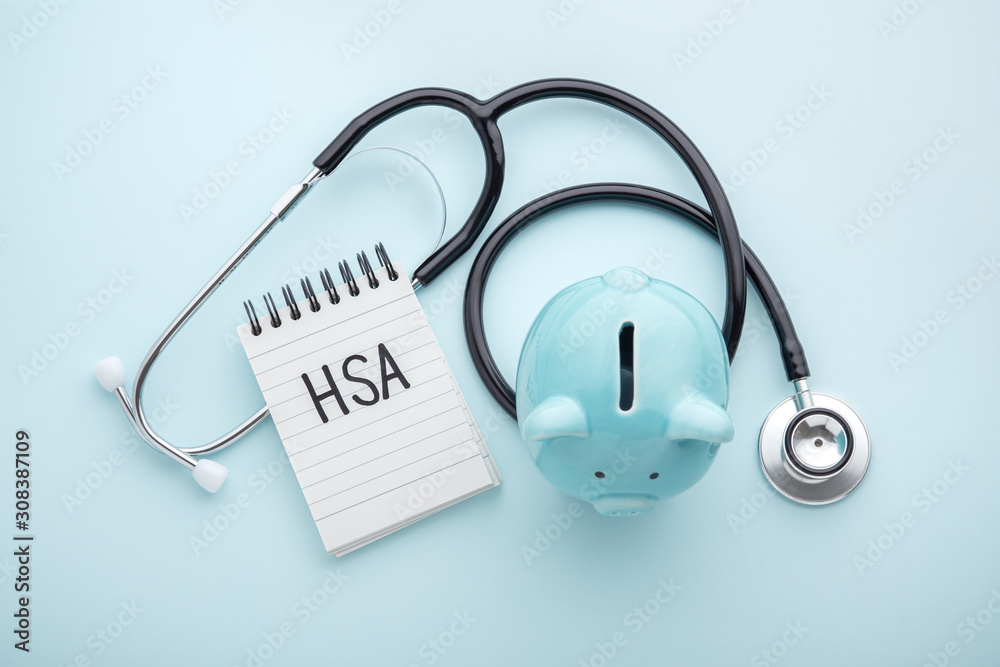 Obraz Health saving account, hsa concept on blue background fototapeta, plakat
