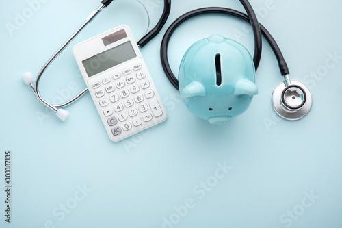 Fototapeta Health insurance, tax concept on blue background obraz