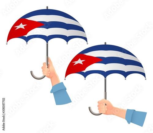 Cuba flag umbrella Wallpaper Mural
