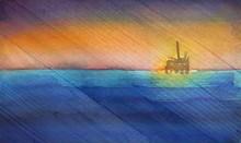 Oil Derrick In Ocean On Wood Grain Texture