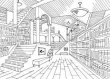 Library Interior Graphic Black White Sketch Illustration Vector