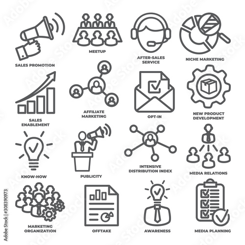 Photo Advertising and marketing line icons Pack 2