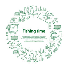 Fishing Vector Circle Template With Green Flat Line Icons. Concept For Web Banners And Printed Materials.