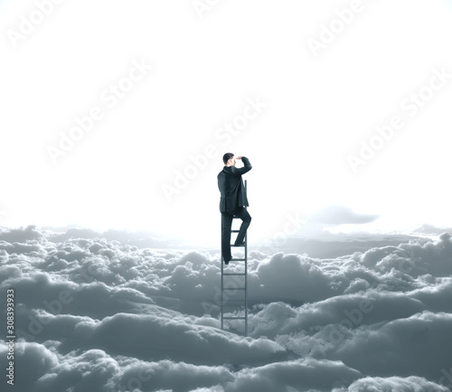 Αφίσα Businessman looking to cloud