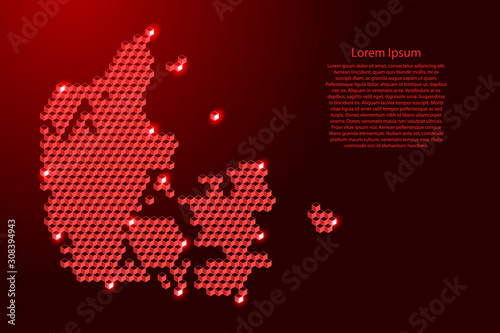 Fotografie, Obraz Denmark map from 3D red cubes isometric abstract concept, square pattern, angular geometric shape, for banner, poster