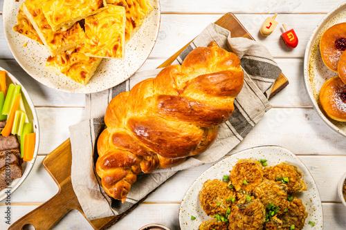 Selection of traditional hanukkah food for festive dinner - Potato Latkes, Apple Wallpaper Mural