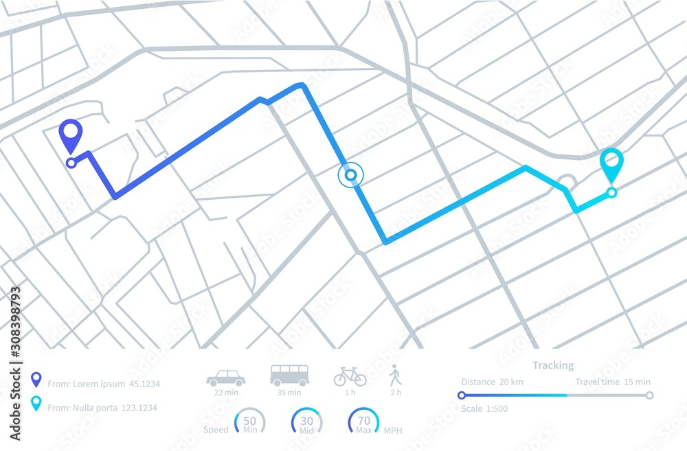 Fototapeta GPS navigation. Planning routes. Mobile navigating map with location city streets. Distance tracking. Vector dashboard interface elements. Illustration road gps route, distance roadmap interface