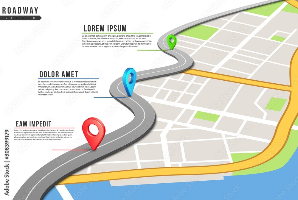 Fototapeta Roadway infographic. Locations map, highway pinned points with information. City map and navigation gps locations. Road traffic vector illustration. Traffic roadway location, forward way