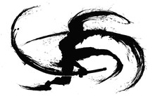 Silhouette Of A Ninja With Two Swords Making Circular Cuts Around Himself Leaving Ink Splashes . 2D Illustration