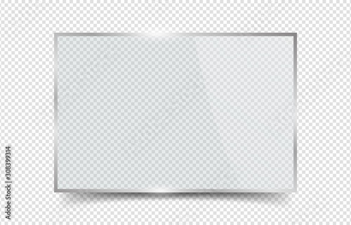 Fototapeta Glass banner. Reflection plexiglas window frame with glares. Vector realistic crystal rectangle board isolated on transparent background. Illustration glossy window, glare and clear, panel board obraz na płótnie
