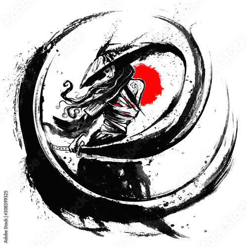 Tablou Canvas A samurai girl with long hair and a wide hat with a katana in her hands describes an ink arc with her sword