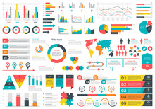 Infographics Charts. Financial Analysis Data Graphs And Diagram, Marketing Statistic Workflow Modern Business Presentation Elements Vector Set