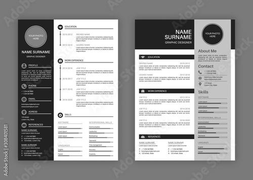 Obraz Cv templates. Professional resume letterhead, cover letter business layout job applications, personal description profile vector set - fototapety do salonu