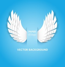 Paper Wings. White Feathers Decoration Of Heaven Bird, Layered Paper Cut Angel Wings. Greeting Card With Handmade Origami Vector Background