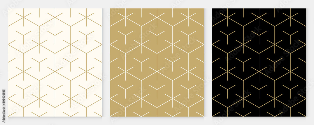 Fototapeta Background pattern seamless geometric line abstract gold luxury color vector. Christmas background.