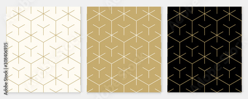 Fototapeta Background pattern seamless geometric line abstract gold luxury color vector. Christmas background. obraz