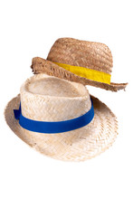 Two Straw Hat Vintage Ribbon Band Yellow Blue Isolated On White Background