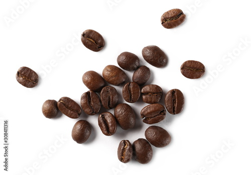 Photo Coffee beans isolated on white background, top view