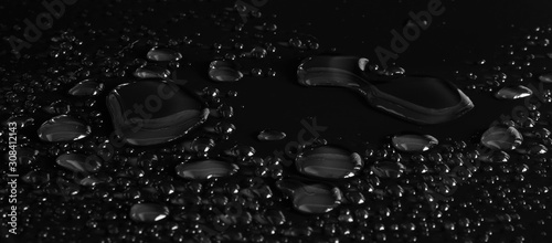 drops of water on a black background
