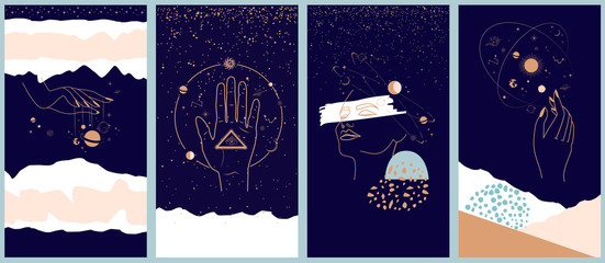 Collection of space and mysterious illustrations for Mobile App, Landing page, Web design in hand drawn style. Magic, occultism and astrology concept. Objects in the style of one line style.