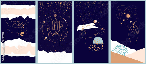 Collection of space and mysterious illustrations for Mobile App, Landing page, Web design in hand drawn style Poster Mural XXL