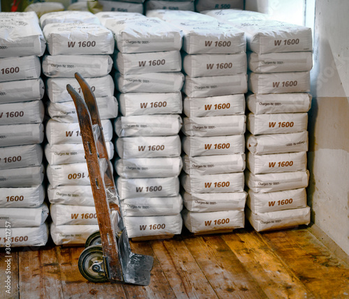 Stack of sacks with flour Wallpaper Mural