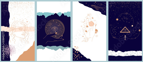 Fotografie, Obraz Collection of space and mysterious illustrations for Mobile App, Landing page, Web design in hand drawn style