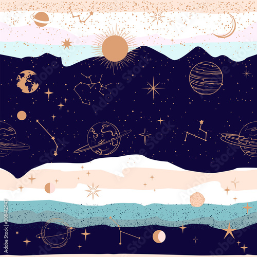 Obraz Seamless pattern with Astrology and Space concept. Minimalistic objects made in the style of one line. Editable vector illustration. - fototapety do salonu