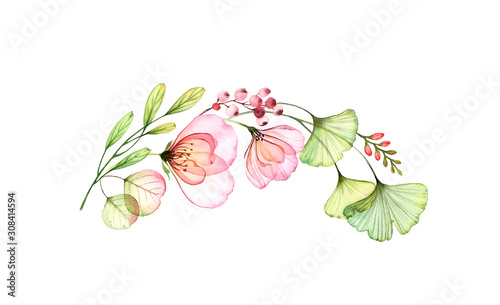 Obraz Watercolor rose arch isolated on white. Transparent flowers and leaves in half wreath composition. Botanical floral illustration for wedding invitations, stationery, greeting cards.  - fototapety do salonu