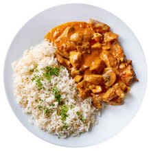 Top View Of Czech Stroganoff Pork With Rice