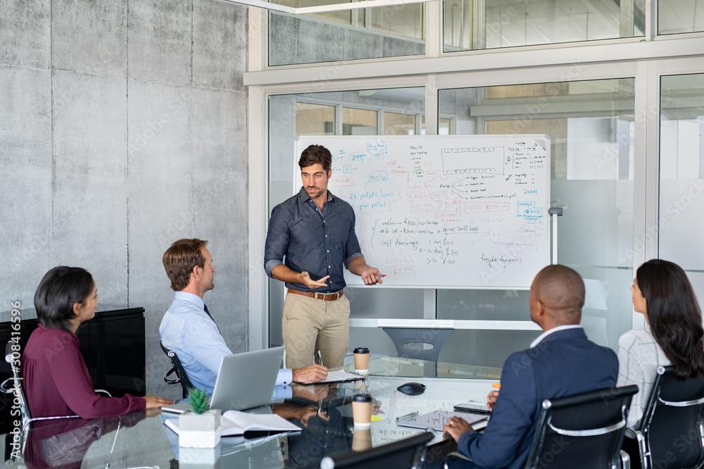 Fototapeta Leader giving presentation to business partners