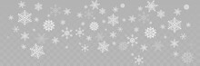 Falling Snowflakes Different Shape. Snowflakes, Isolated On Transparent Background. Falling Snowflakes. Winter Christmas Background. Realistic Little Christmas Snow Panorama View. Christmas Illustrati