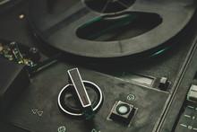 Close Up Old Vintage Reel Tape Recorder Background.