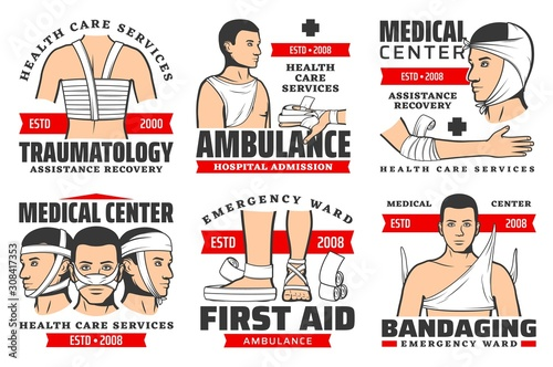 Traumatology services, ambulance hospital admission, first aid at traumas, bandaging isolated icons Wallpaper Mural