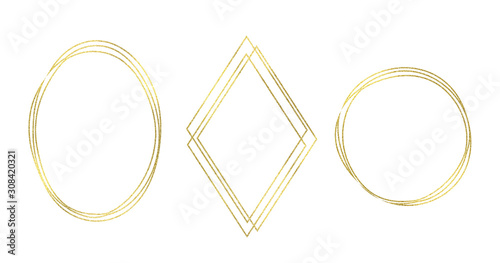 Photo Set golden glitter frames: oval, rhomb, circle