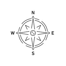 Gray Compass Linear Icon On Wh...