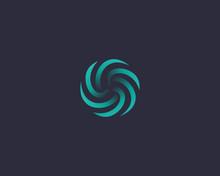 Abstract Vortex Spin Logo Icon Design Abstract Modern Minimal Gradient Line Art Illustration. Sun Flower Swirl Colorful Vector Emblem Sign Symbol Mark Logotype For Dark Background