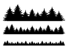 Forest Vector Shape Set. Pine Tree Landscape Collection, Panorama. Hand Drawn Stylized Black Illustrations Isolated On White Background. Element For Design Christmas Banner, Poster