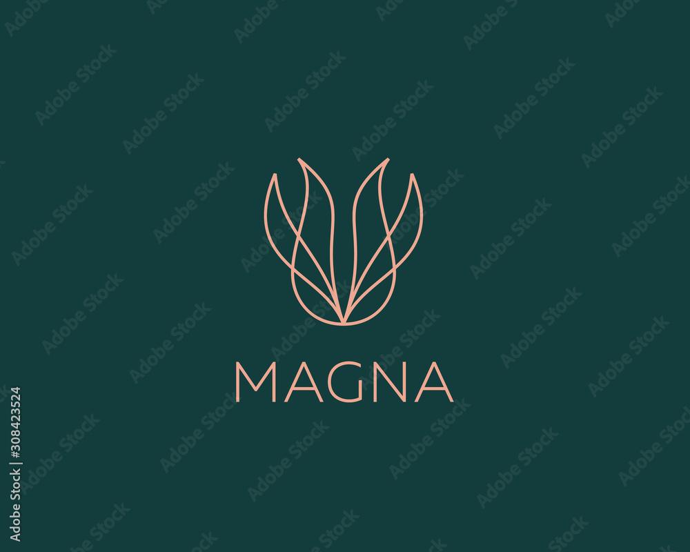 Abstrakcjonistycznego kwiatu loga ikony projekta abstrakcjonistycznej nowożytnej minimalnej kreskowej sztuki ilustracja. Płomień wektor godło znak symbol znak logo