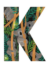 Hand Painted Letter K With Koala