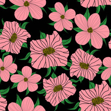 Hand Drawn Artistic Cute Flowers And Leaves On Black  Background.Pink Floral Pattern Of Textile Fabric. - Illustration