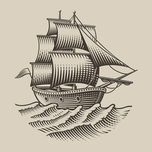 Vector Illustration Of A Vintage Ship