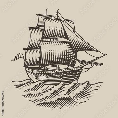 Vector illustration of a vintage ship
