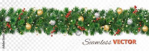 Stampa su Tela  Vector Christmas decoration. Pine tree garland with ornaments