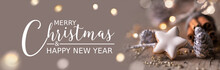 Christmas Card  -  Banner Format , English Text -   Merry Christmas -  Natural Food Decoration With Cinnamon Cookie, Pine Cones And Twigs