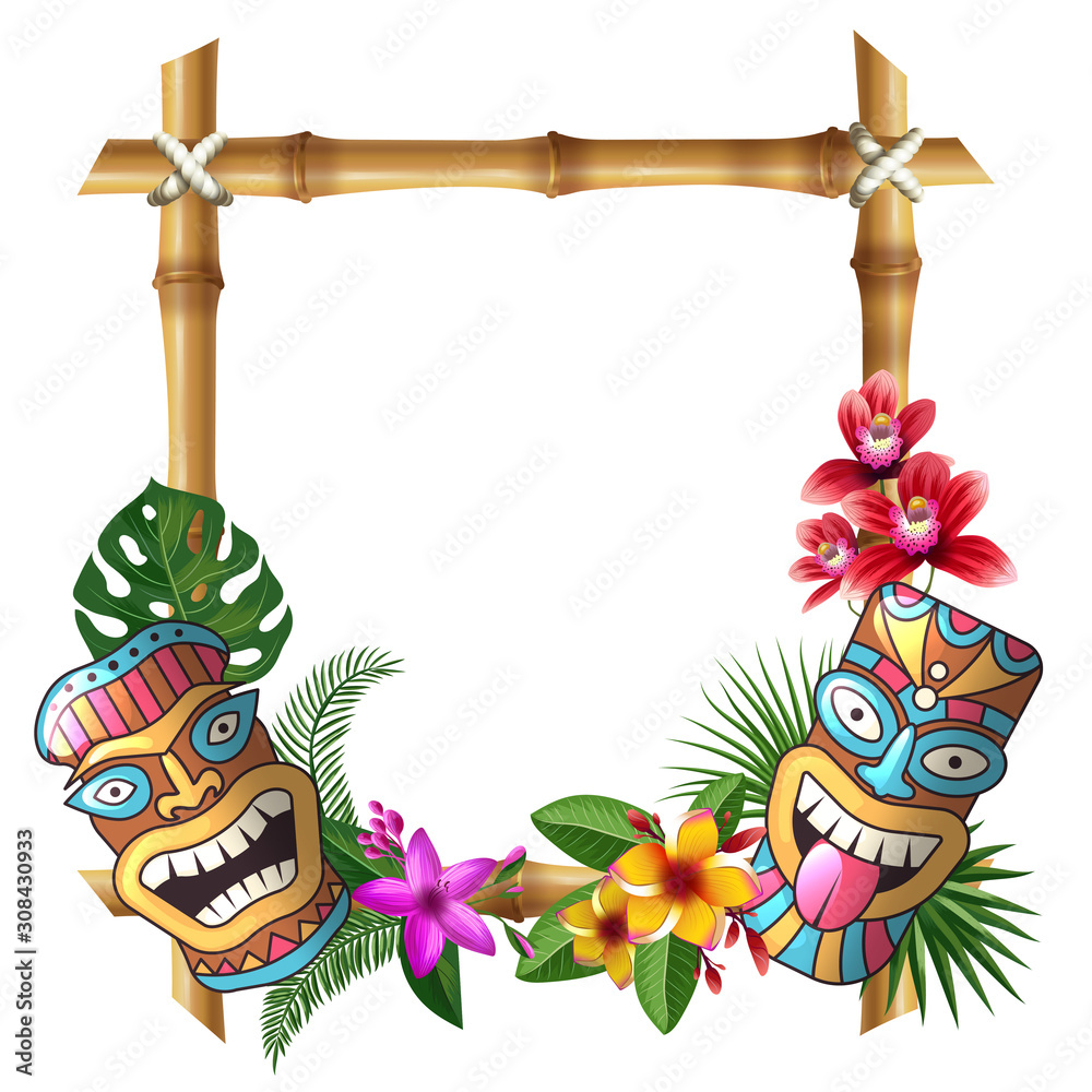 Fototapeta Tiki mask and frame. Hawaii authentic background bamboo square sticks exotic flowers and plants wooden totem vector cultural object. Tiki mask hawaii, hawaiian exotic frame illustration