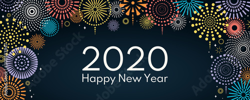 Fototapeta Vector illustration with bright colorful fireworks on a dark blue background, text 2020 Happy New Year. Flat style design. Concept for holiday celebration, greeting card, poster, banner, flyer. obraz